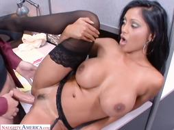 Big-Titted cougar, Pranjali Rai loves to get down and sloppy at work, until she blows a load