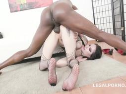 Tattooed brown-haired, Anna de Ville is screwing a dark-hued dude, Mike and gargling his XXL boner