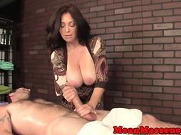 Hugetits milf masseur predominates her customer