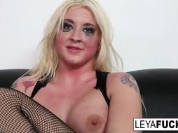 Trampy blond doll, Leys couldn't wait to get butt-banged, after deep throating her dark-hued paramour's meatpipe