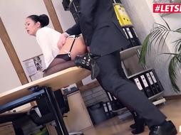 Magnificent assistant is dressed in dark-hued stocking and garter belt and frequently getting torn up while at work