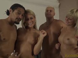 2 blondes deepthroat and share BIG BLACK COCK