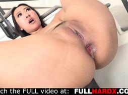 Japanese honey with giant breasts is getting her rosy labia fingerblasted and her cock-squeezing butt fucked