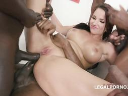 Jolee Enjoy is deep-throating many ebony weenies in a row and then getting plowed and doublefucked