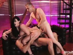 Spunky lady with dark hair, Angela Milky loves to have three-ways with 2 wild fellows