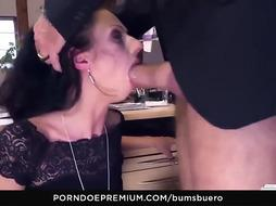 Enticing black-haired got down on her knees to deepthroat her manager's sausage after taunting him a bit