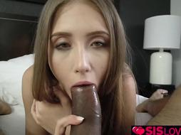 Sister enjoys gargling a yam-sized boner and taking jizz in her facehole