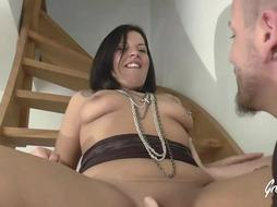 Super-Fucking-Hot dark-haired, Marie- Antoinette has a fat sneer on her face while getting dp'd during a three-way