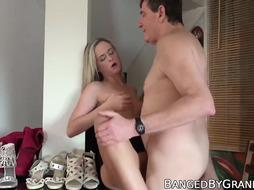 Puny nubile with inborn udders ravages senior boy and tastes jizz