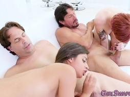 Nubiles Rail Step-Fathers for Spunk in Face