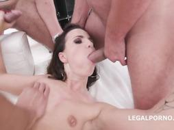 Smallish jugged black-haired, Kristy Ebony got wedged with 2 rock stiff weenies at the same time