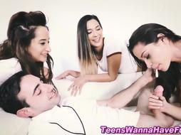 Teenage schoolgirls blowing trunk