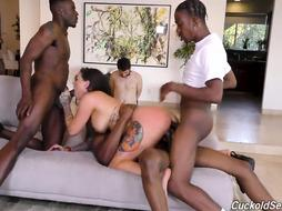 Tatted brown-haired, Karmen Karma got humped from the back while having gang intercourse with dark-hued folks