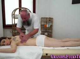 Nubile Tears Up Senior Massagist and Gets Spermed