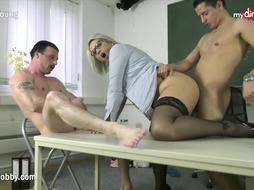 MyDirtyHobby - Three-Way with school instructor to loosen examination strain