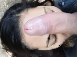 Stolen Smartphone in Mexico - Superslut Deep-Throating Cock in Public