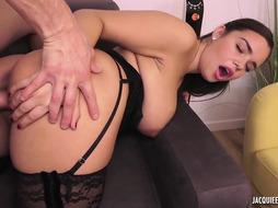 Big-Boobed, first-timer woman, Sofia is getting humped from the back and railing a rock-hard fuckpole all day