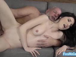 Mia Evans taking care of a senior filthy trunk with her wetting vulva