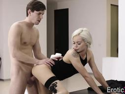 Teenie bombshell gets poon ravaged and booty spermed