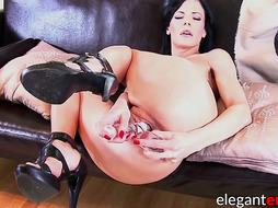 Steamy Euro honey knuckles herself and uses faux-cock for anus
