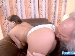 Nasty granddad loves penetrating a big-chested stunner