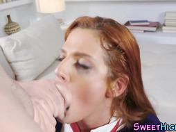 Heeled school mega-bitch blows ample pipe