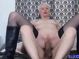Brief haired, blond milf would never say no to a casual bang with a junior man