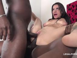 Assfucking romp lovin' black-haired, Carol Montenegro got wedged with 2 ebony dicks at the same time