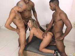 Cool girl, Sol Soares is impatient to get drilled by many super-naughty studs in a row