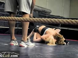 Lesbian wrestler European honeys get sweat-soaked