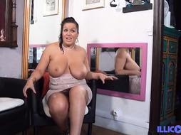 Sensual dark-haired with hefty milk mammories, Tatiana had a 3 way with her neighbors and loved it