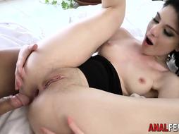 Lusty dark-haired is railing a rock rock hard meat stick and getting some jizz all over her face