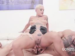 Tatted platinum-blonde with brief hair, Lolly Glam got group-fucked the way she always wished and loved it