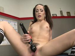 Ass Fucking nubile pummels machine at the gym