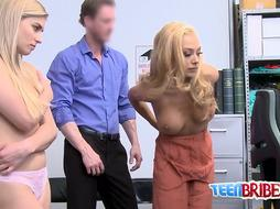 Ash-Blonde stunners get splattered shoplifting and have to inhale salami