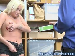 Leaned Over Teenager Shoplifter Towheaded Gets Pummeled