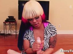 Ebony Angel Gives Tugjob and Titty Fuck