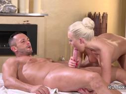 Shaved pussy masseuse fucks huge dick
