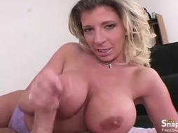 Horny Mom Jerking Cock and Masturbating