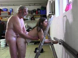 Such an innocent petite young pussy for an old horny hairy grandpa