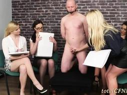 Slave Pleasured by 4 Sizzling hot Skanks