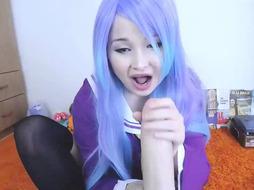 Blue Haired Teen Schoo lGirl Rides Dildo
