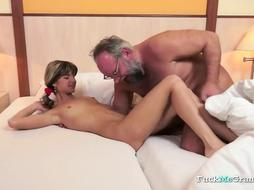 Dicked Grandpa Fucks a Hot Girl