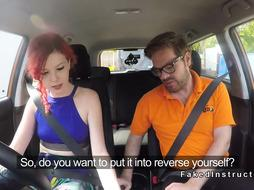 Redhead driving student is better with cock