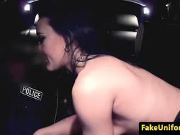 British cop POV fucks street hooker outdoors