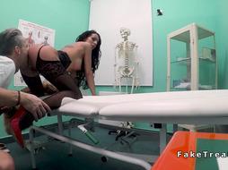 Brunette in lingerie fucking doctor