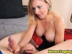 Real MILF tugging cock in POV scene