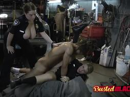 Nasty MILF cops feasting on black sausage
