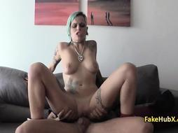 Tattooed bitch nailed cock of police officer