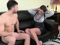 Super hot natural huge tits female agent bangs